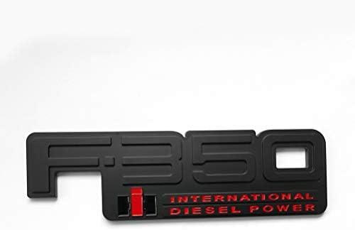 2pcs F-250 International Diesel Power Emblems Side Fender Door Decal Nameplate Badge Replacement for 83-94 F250 Black//White
