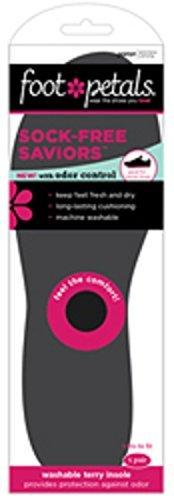 Foot Petals Sock-Free Saviours Foot Cushions Terry Top Insoles, Black by Foot Petals