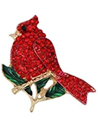 1.25-inch H Rhinestone and Enamel Red Cardinal Brooch Pin Gold Tone