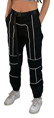 Reflective Black Cargo Pants Womens Girls Trousers with Reflective Strips Piping for Dance Hip Hop Rave Rave Festivals