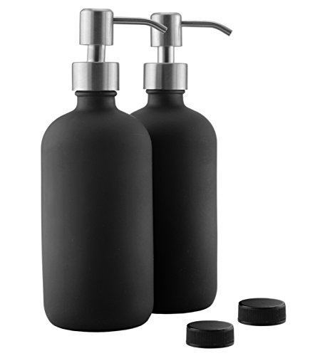 16oz Black Glass Bottles w/Stainless Steel Pumps (2-Pack); Black Coated Boston Round; Lotion & Soap ()