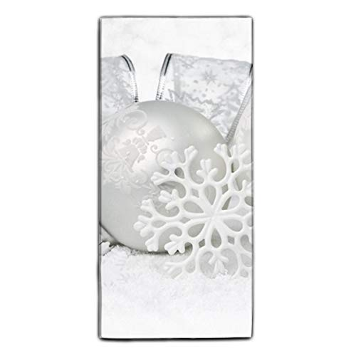 Holiday Christmas Ornaments White Silver Dish Towels, 11.8 × 27.5