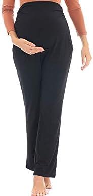 YIWOZA Women's Maternity Black and High Waist Stretch Plus Size Tights Yoga Maternity P