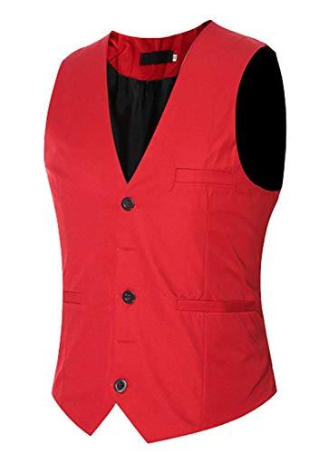 Giovane Colore Gilet Nuziale Fashion Da Solido Vestito Rosso Di Giacca Tinta Cerimonia Uomo Panciotto Saoye Smoking Unita Base Partito z61qFPq