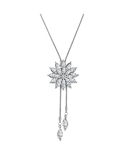 Spiritlele Crystal Snowflake Pendant Necklace Long Sweater Tassel Necklace for Women Girls (Crystal Snowflake Pendant Necklace)