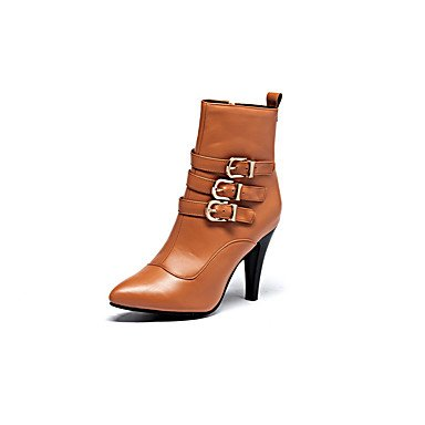 RTRY Women's Shoes PU Leatherette Fall Winter Comfort Novelty Fashion Boots Boots Stiletto Heel Pointed Toe Booties/Ankle Boots Buckle For US7.5 / EU38 / UK5.5 / CN38 V1lSYLU9
