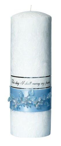 Light Blue Flower White Palm Wax Pillar (White Palm Wax Pillar)