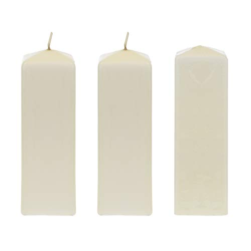 (Mega Candles 3 pcs Unscented Ivory Dome Top Square Pillar Candle | Economical One Time Use Event Wax Candles 2