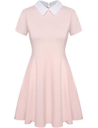 Aphratti Women's Short Sleeve Casual Peter Pan Collar Flare Dress Pink -