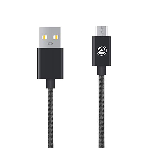 ARU ARA 33 1Mtr 2.4 Amp Breaded Micro USB Charge   Sync Cable  Black