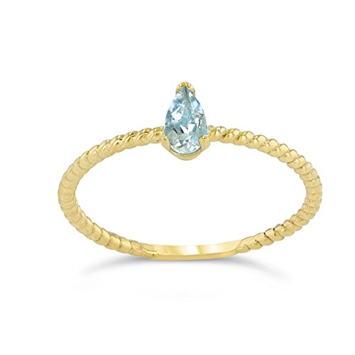 (Dainty 10k Yellow Gold Solitaire Aquamarine Pear-Shaped Modern Engagement Rope Ring (Size 5.5))