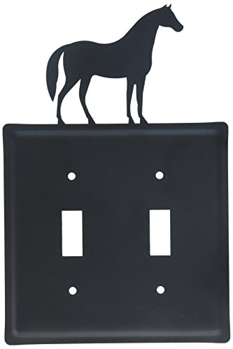 8 Inch Horse Double Switch Cover Blue Double Light Switchplate