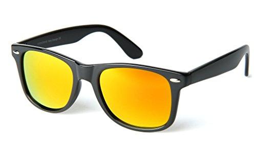 corciova Reflective Revo Large Horn Rimmed Style Uv400 Wayfarer Sunglasses Black Frame Gold Mirror - Gold Wayfarer