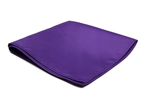 Jacob Alexander Men's Pocket Square Solid Color Handkerchief - Purple -