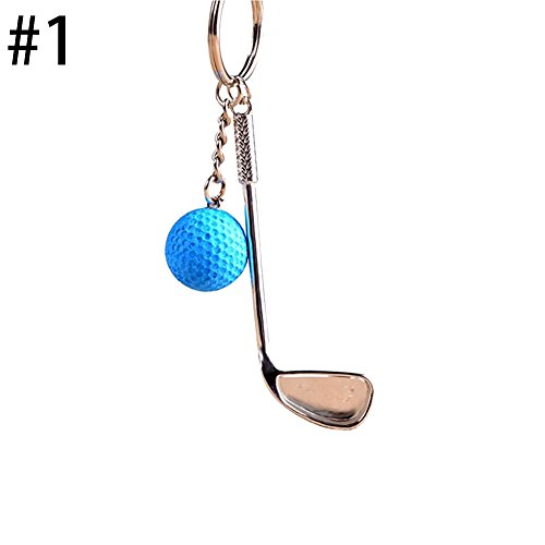 Golf Ball Key - Taloyer Creative Metal Golf Ball Key Chain Bag Pendant Ball Fan Supplies Gifts Sports Souvenirs (Blue)