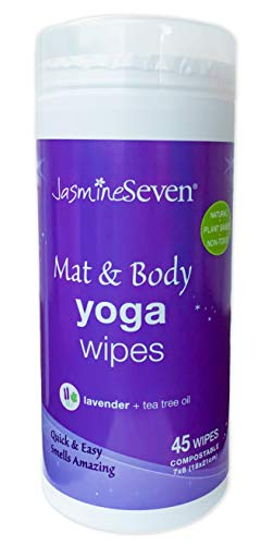 Yoga Wipes for Body and Mat – Natural Lavender and Tea Tree – 45 Wipes in Resealable Canister – by Jasmine Seven – for…