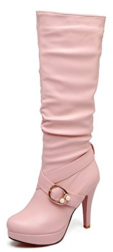Aisun Women's Elegant Dressy Buckle Strap Almond Toe Pull On High Heels Platform Under The Knee High Boots (Pink, 9.5 B(M) US)