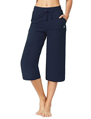 Baleaf Women's Active Yoga Lounge Capri Pants with Pockets Navy Blue Size XL ()