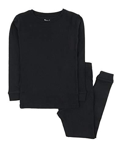 Leveret Kids Pajamas Boys & Girls Solid Black 2 Piece Pajama Set 100% Cotton Size 8 Years