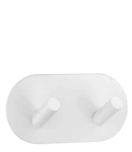 Self-Adhesive Double Hook in White Finish ()