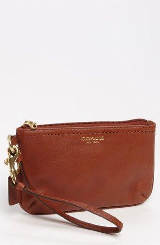 Coach Legacy Leather Small Wristlet Brass/Cognac