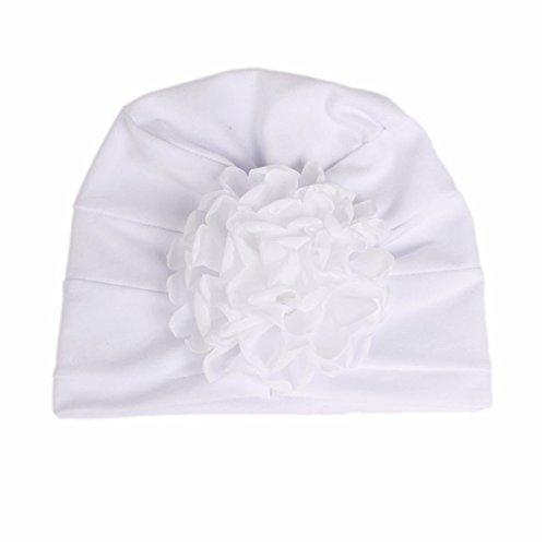 Qhome Girls Cotton Beanie Flower Slouch Cap Hospital Hat Kids Headwarp Turban Hair accessories