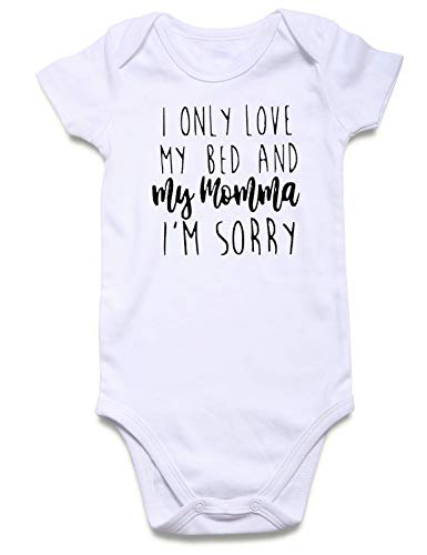Unisex Toddler Girl Boy Neutral Summer Clothes Plain White I Only Love My Bed and Momma I'm Sorry Funky Affordable 80s Tiny Bodysuit Baby Stylish Hip Hop Outfits for Sleep and Play]()