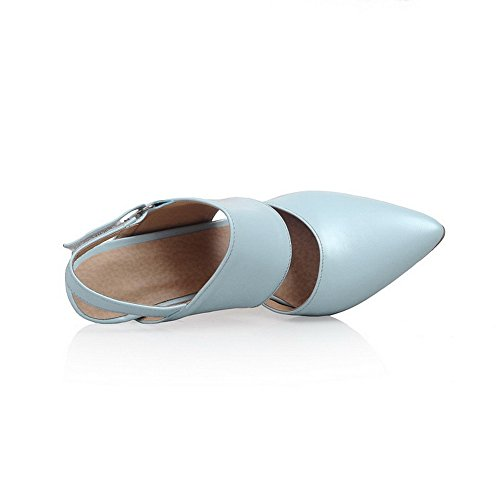 Odomolor Damen Haken-und-Loop Stiletto Rein Schließen Zehe Sandalen mit Hohem Absatz Blau