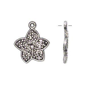 "Charm antiqued silver-finished ""pewter"" (zinc-based alloy) 18x18mm single-sided flower-H20-8926FY"