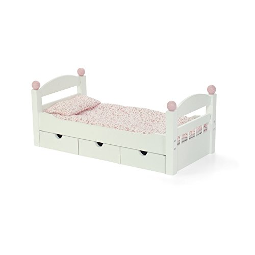 18-inch Doll Furniture | Stackable White Trundle Bed with Bedding | Fits American 18″ Girl Dolls