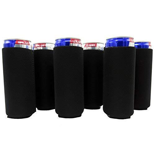 Slim Can Sleeves - Set of 6 Can Neoprene Beverage Coolers (Black)