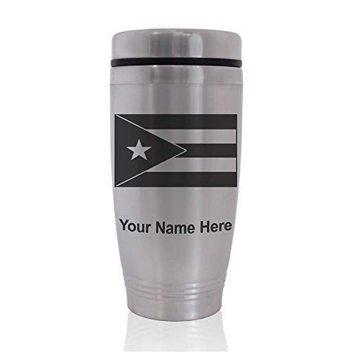 Commuter Travel Mug, Flag of Puerto Rico, Personalized Engraving Included