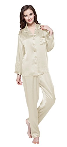 LilySilk Women's Pure Silk Pajamas Full Length Long 22 Momme 100% Mulberry Silk Beige Size 12/L
