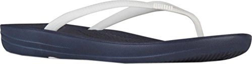 FitFlop Mujer dorado iQushion Ergonomic Chanclas blanco, azul marino, (Midnight Navy / White)