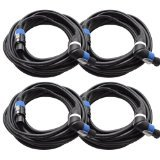 Seismic Audio TW12SRT35-4Pack 12 Gauge 35-Feet Speakon to Right Angle Speakon PA/DJ Speaker Cable