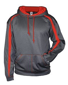 (Badger Adult 100% Polyester Performance Fusion Hooded Sweatshirt - Carbon/ Red - 2XL )