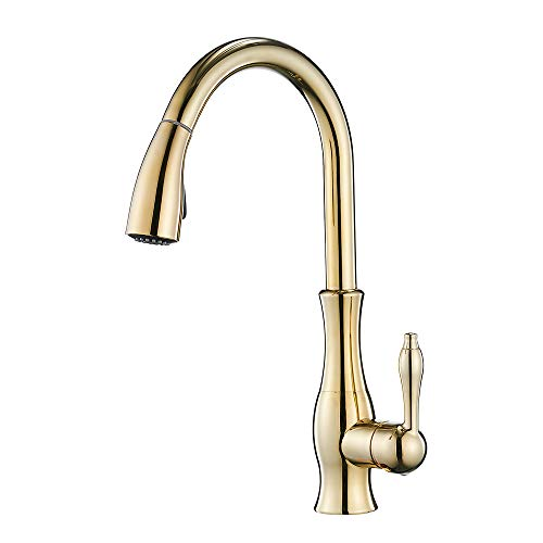 Gold Kitchen Sink Faucet with Pull Out Sprayer,Single Handle High Arc Brass Swivel Spout Kitchen Faucets, Single Hole Mount, YY-66M006K