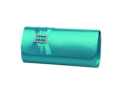 Ivory clutch horizontal pleated band trim Aqua Green Ladies diamante a bag with and 5dZ5wqOnz