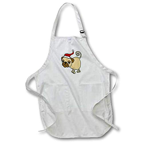 3dRose apr/_200200/_2 Funny Pug Puppy Dog Wearing Santa Hat Medium Length Apron with Pouch Pockets 22 by 24-Inch