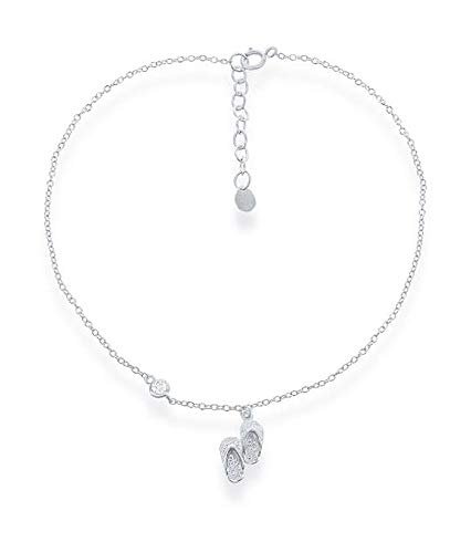 Sterling Silver 9 inch to 10 inch Adjustable Ankle Bracelet with Cubic Zirconia Accent & Flip-flops Charm