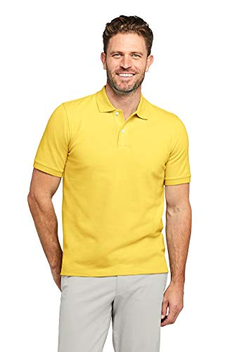 Lands' End Men's Short Sleeve Comfort First Solid Mesh Polo, S, Bright Daffodil