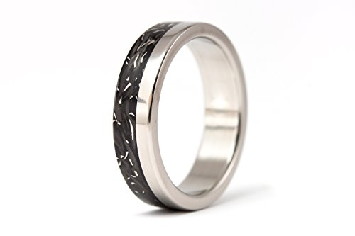 Women's titanium and carbon fiber ring. Unique black wedding band. Water resistant and hypoallergenic. (00332_5N)