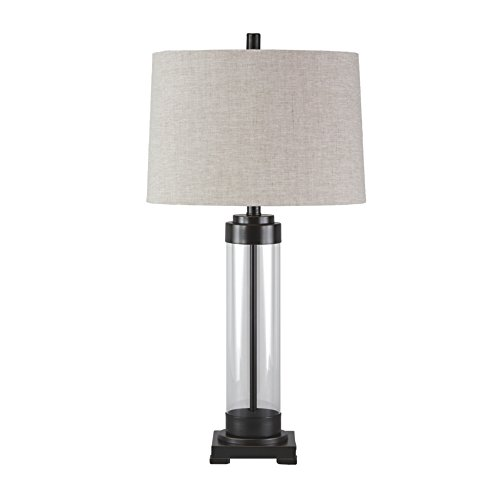 Ashley Furniture Signature Design - Talar Glass Table Lamp with Drum Shade - Clear/Bronze (Bronze Modern Desk Lamp)