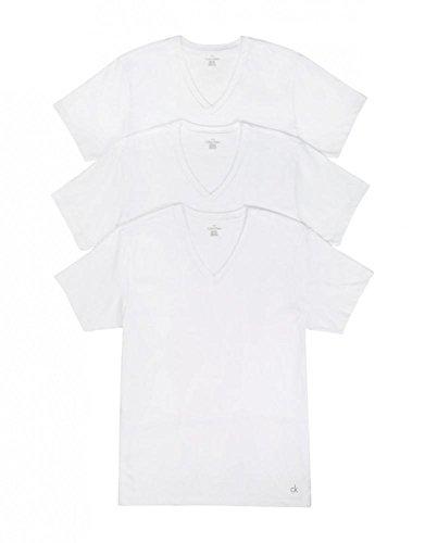 Calvin Klein Men's Cotton Classics Multipack V Neck T-Shirts, White, Medium - 3 Pack