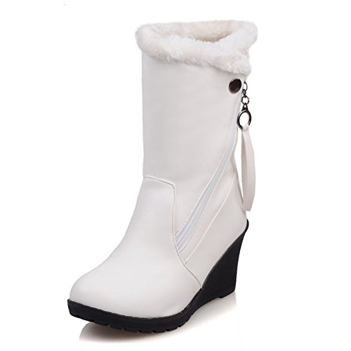 DecoStain Comfort Winter Snow Warm Soft Mid Calf Patent-Leather Wedge (Leather Wedge Boot)