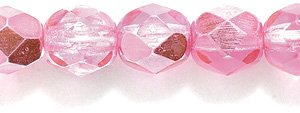 Preciosa Czech Fire 6 mm Faceted Round Polished Glass Bead, Dark Pink Fuchsia Half Coat, 100-Pack