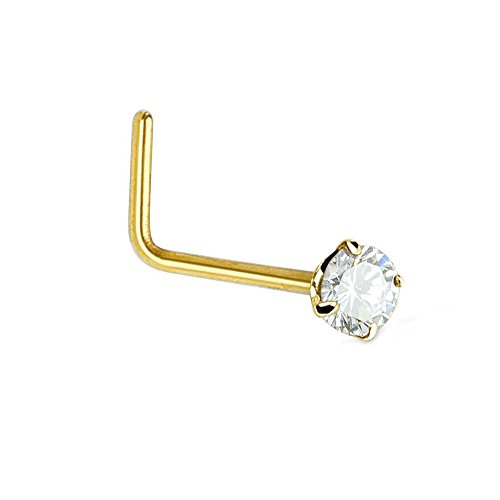 (JewelStop 14K Solid Yellow Gold Nose Ring Bone CZ Prong Set - 0.5mm 24 Gauge 8mm Long)