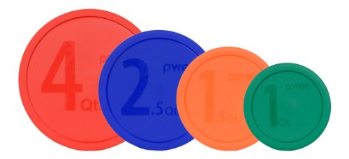 Pyrex Storage Container Lids 4 Pack: 4qt Red, 2.5qt Blue, 1.5qt Orange & 1qt Green for (Pyrex Smart Essentials 8 Piece)