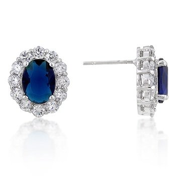 Sapphire Inspired Stud Earrings with Cz Surrounding