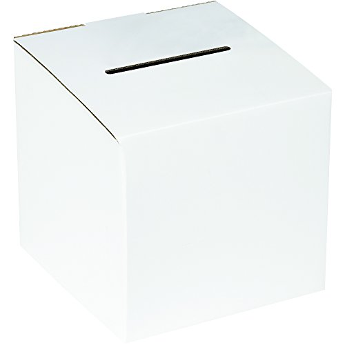 Boxes Fast BFMBALLOT White Corrugated Cardboard Ballot Box, 10 x 10 x 9-10 Inches, Suggestion Box, Raffle Ticket Holder, Large Voting Box (Pack of 10)